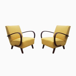 Bentwood Armchairs in Yellow Tweed by Jindřich Halabala for Interier Praha, 1930s, Set of 2
