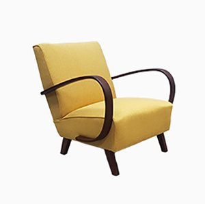 Bentwood Armchair in Yellow Tweed by Jindřich Halabala for Interier Praha, 1930s