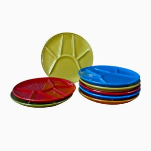 Multi-Colored Compartment Plates, 1950s, Set of 8