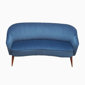 French 2-Seat Loveseat Couch in Blue Velvet, 1950s