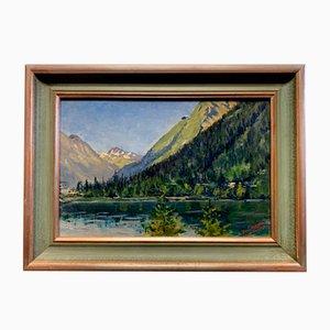Veduta sul lago di Champix nel Vallese ad olio su tavola di Léon Auguste Jules Des Buissons, anni '30