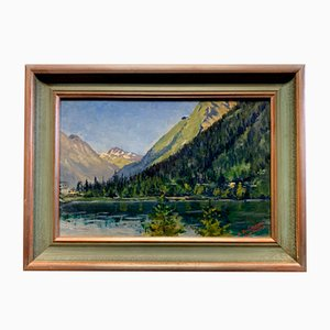 View of the Lake of Champix in the Valais Oil on Panel by Léon Auguste Jules Des Buissons, 1930s
