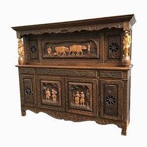 French Carved Oak Brittany Buffet or Sideboard, 1950s