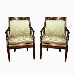 Empire Mahogany Lounge Chairs with Swan Necks, Set of 2