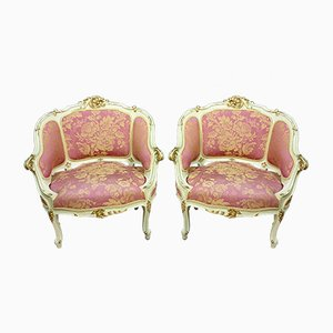 Antique Louis XV Lacquered & Gilded Wooden Lounge Chairs, Set of 2