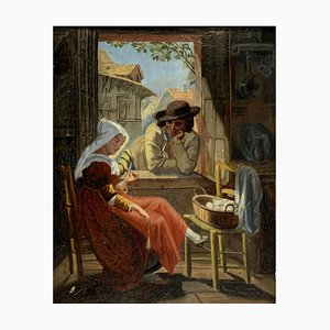 French Painting by Emile Louis Foubert, Oil on Canvas
