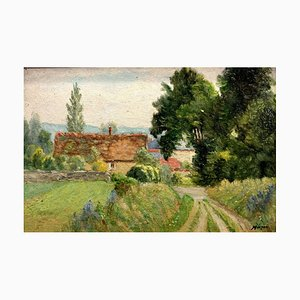 French Painting by Muizon, Oil on Panel, 1940s