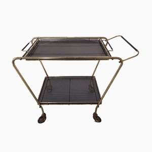 French Brass Tea Cart Attributed to Mathieu Matégot, 1950s