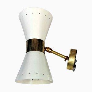 Italian White Brass Model Diabolo Sconces in the Style of Stilnovo, 1963, Set of 2