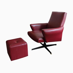 Swivel Chair & Ottoman in Burgundy Leather, 1970s, Set of 2