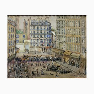 French Painting of Paris from Gouache MP, 1940s