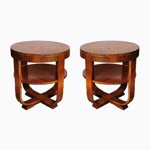 Art Deco Walnut Coffee Tables, Austria, 1930s, Set of 2