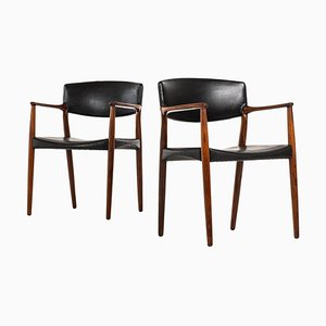 Rosewood Armchairs by Aksel Bender Madsen & Ejner Larsen for Willy Beck, 1952, Set of 2