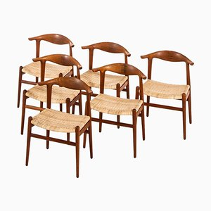 Rosewood JH-505 Armchairs by Hans J. Wegner for Johannes Hansen, Denmark, 1952, Set of 6