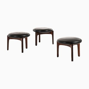 Rosewood Stools by Svend Ellekær for Christian Linneberg, Denmark, 1962, Set of 3