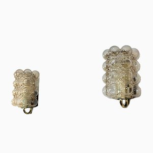Bubble Glass & Brass Sconces by Helena Tynell for Glashütte Limburg, 1940s, Set of 2