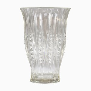 Art Deco Cut Crystal Vase by Charles Graffart, 1930s