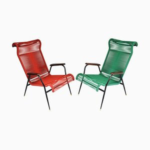 Vintage French Red and Green Scoubidou Lounge Chairs, 1950s, Set of 2
