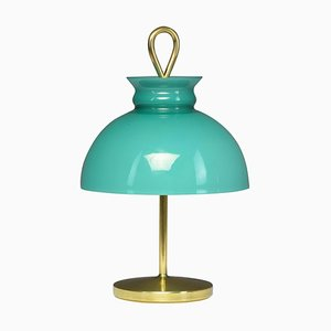 Mid-Century Turquoise Brass Table Lamp by Ignazio Gardella, 1956