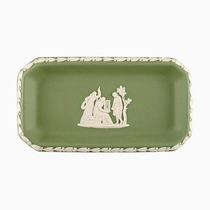Small Dish in Green Stoneware with Classicist Scenes from Wedgwood, England, 1930s