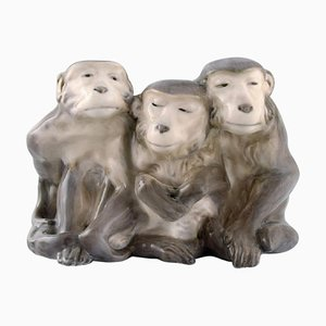 Porcelain Figure of 3 Monkeys by Knud Kyhn for Royal Copenhagen