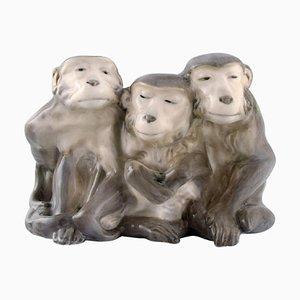 Porcelain Figure of 3 Monkeys by Knud Kyhn for Royal Copenhagen