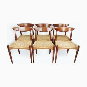 Sedie da pranzo in teak di Arne Hovmand-Olsen per Mogens Kold, Danimarca, anni '50, set di 6