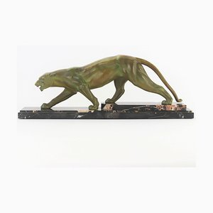 Large Art Deco Patinated Spelter Prowling Panther on Marble Base, 1925