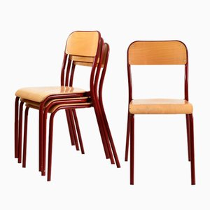 Vintage French Red Curved School Stacking Chair, 1960s