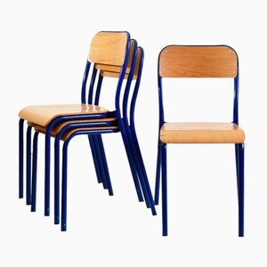 Vintage French Blue Curved School Stacking Chair, 1960s