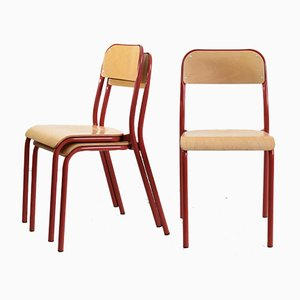 Vintage French Light Red Curved School Stacking Chair, 1960s