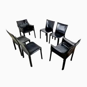 Black Leather CAB Dining Chairs by Mario Bellini for Cassina, 1980s, Set of 6