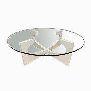 Vintage Circular Glass Coffee Table, 1970s