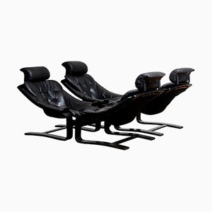 Kroken Lounge Chairs in Leather by Ake Fribytter for Nelo, Sweden, 1974, Set of 4