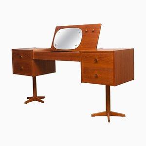 Scandinavian Vanity Dressing Table Desk in Teak and Brass, Sweden, 1950s