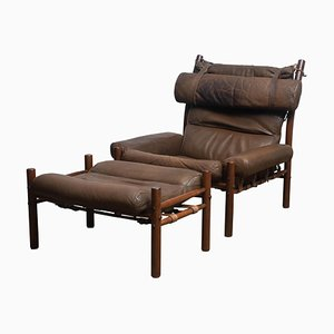 Brown Leather Inca Chair & Ottoman by Arne Norell, Sweden, 1968, Set of 2