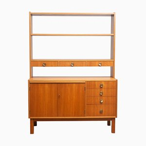Teak Veneer & Brass Bookshelves Cabinet with Writing Space, Sweden, 1950s