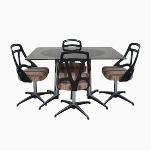 Mid-Century Smoked Glass Dining Chairs, 1970s, Set of 4