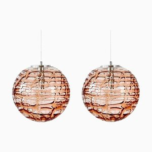 Pink Murano Glass Pendant Lamps in the Style of Venini, 1960s, Set of 2