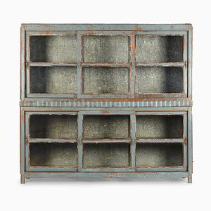 Glass Cabinet with Blue Patina, 1940s