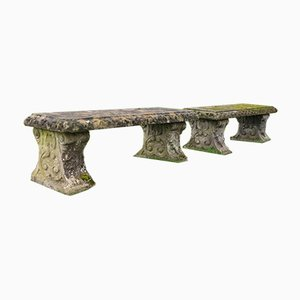 Reconstituted Stone Benches, Set of 2