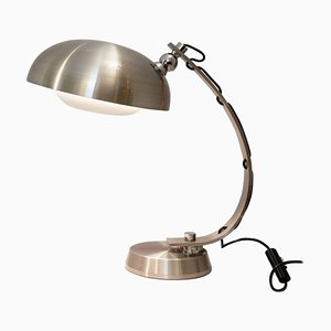 Vintage Brushed Chrome Arc Desk Lamp