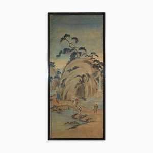 19th Century Japanese Rice Paper Painted Panel