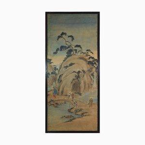 Panneau 19ème Siècle en Papier de Riz Peint, Japon