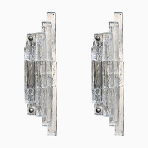 Geometrical Transparent Glass Wall Sconces from Poliarte, 1960s, Set of 2