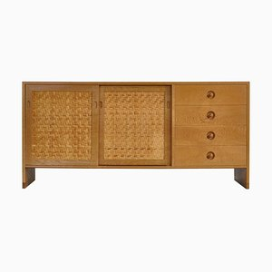 Danish Modern System RY Cabinet in Oak and Rattan Cane by Hans J. Wegner, 1970s
