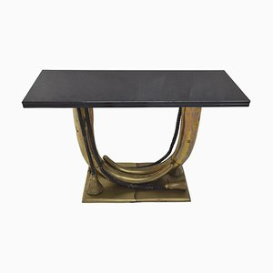 Handmade Brass & Tusk Console Table in the Style of Maison Jansen, 1950s