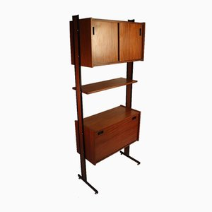 Vintage Wood & Metal Wall Unit, 1960s