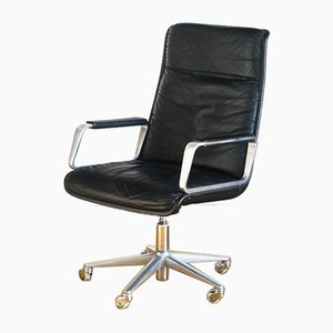 Black Leather Adjustable Chair with Wheels by Delta Design for Wilkhahn, Germany, 1968