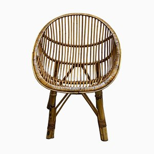 Mid-Century Bamboo and Rattan Armchair, 1950s